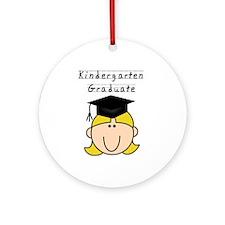 Girl Kindergarten Grad (blond) Ornament (Round)