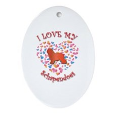 Love Schapendoes Oval Ornament