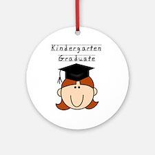 Girl Kindergarten Grad (redhead) Ornament (Round)