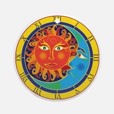 sun moon clock Round Ornament