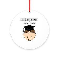 Boy Kindergarten Grad (brown) Ornament (Round)