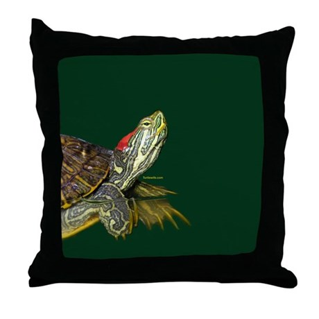 Lively Red Eared Slider Throw Pillow