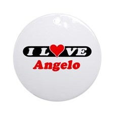 I Love Angelo Ornament (Round)