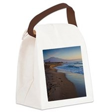 Beach with Mt. Etna at dawn Canvas Lunch Bag