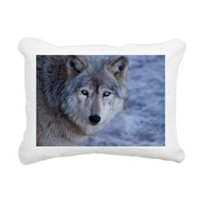 Portrait of grey wolf Rectangular Canvas Pillow