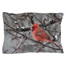 Male cardinal in snow Pillow Case
