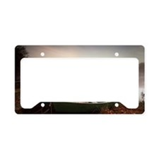 Rowing boats moored on banks  License Plate Holder