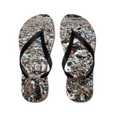 Landfill at garbage collection center Flip Flops