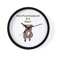 Proud Pitbull Grandparent Wall Clock