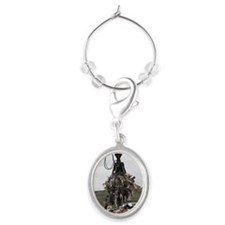 Crane at garbage collection center Oval Wine Charm