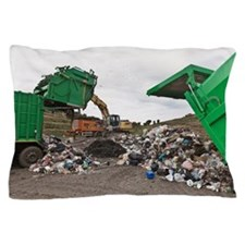 Machinery at garbage collection center Pillow Case