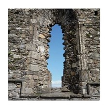 Arched window at ruins in Glendalough Tile Coaster
