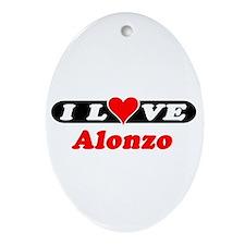 I Love Alonzo Oval Ornament