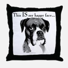 Boxer Happy Face Throw Pillow
