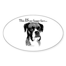Boxer Happy Face Oval Decal