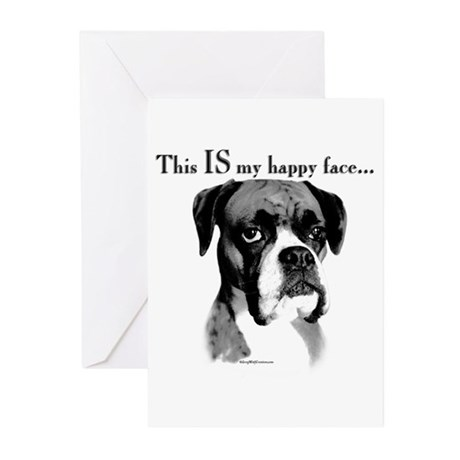 Boxer Happy Face Greeting Cards (Pk of 10)