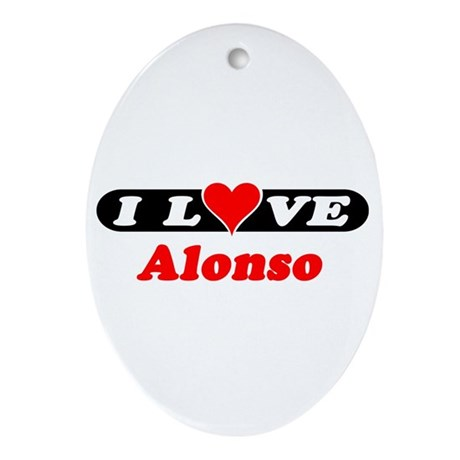 I Love Alonso Oval Ornament
