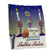 Judaica Shabbat Shalom Burlap Throw Pillow