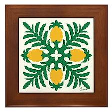 Hawaiian Quilt Pineapple Framed Tile