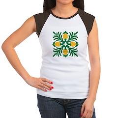 Hawaiian Quilt Pineapple Women's Cap Sleeve T-Shir