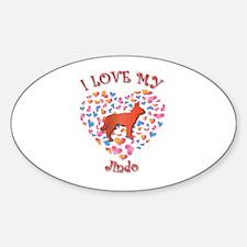 Love Jindo Oval Decal