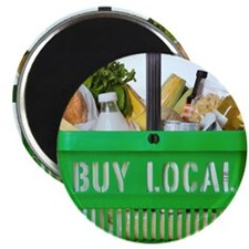 Goods in a shopping basket with 'buy local' Magnet