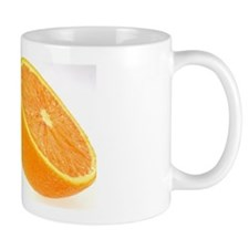 Two halves of an orange Mug
