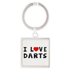 I Love Darts Square Keychain