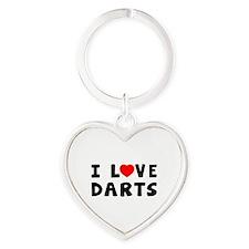 I Love Darts Heart Keychain
