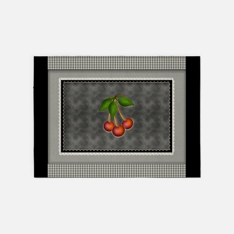 Chalkboard Black Gingham Checks 5'x7'Area Rug
