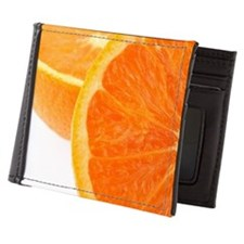 Two halves of an orange, partial view Mens Wallet