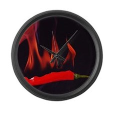 Studio shot of a red hot chili Large Wall Clock
