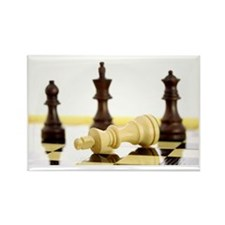 Chess pieces on chess board Rectangle Magnet