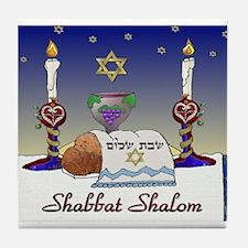 Judaica Shabbat Shalom Tile Coaster