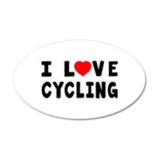 I Love Cycling 20x12 Oval Wall Decal