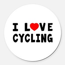 I Love Cycling Round Car Magnet
