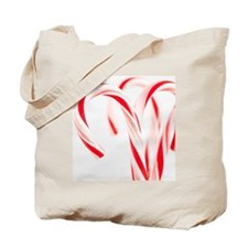 Red and white candy canes, studio shot Tote Bag