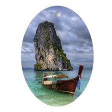 Long Tail Boat floating on turquoise Oval Ornament