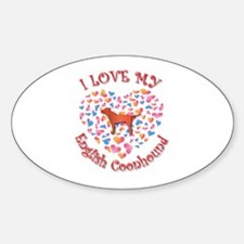 Love Coonhound Oval Decal