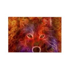 Fire Wolf Rectangle Magnet