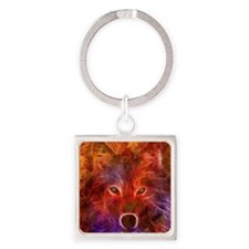 Fire Wolf Square Keychain