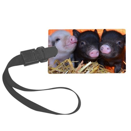 3 little micro pigs Large Luggage Tag