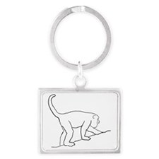 Walking Monkey. Landscape Keychain