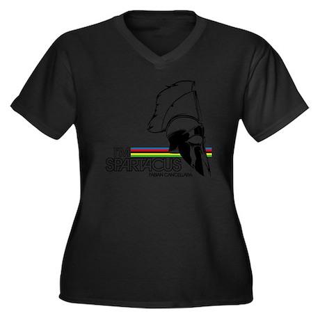 I'm Spartacu Women's Plus Size Dark V-Neck T-Shirt