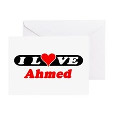 I Love Ahmed Greeting Cards (Pk of 10)
