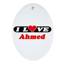 I Love Ahmed Oval Ornament