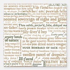 """Shakespeare Insults Square Car Magnet 3"""" x 3"""""""