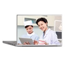 Dentist and nurse in dental clinic Laptop Skins