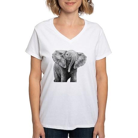 Baby African Elephant Pillo Women's V-Neck T-Shirt