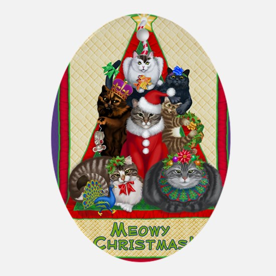Meowy Christmas Oval Ornament